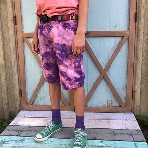 Custom bleached purple denim shorts